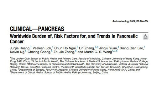 Worldwide trends of pancreatic cancer