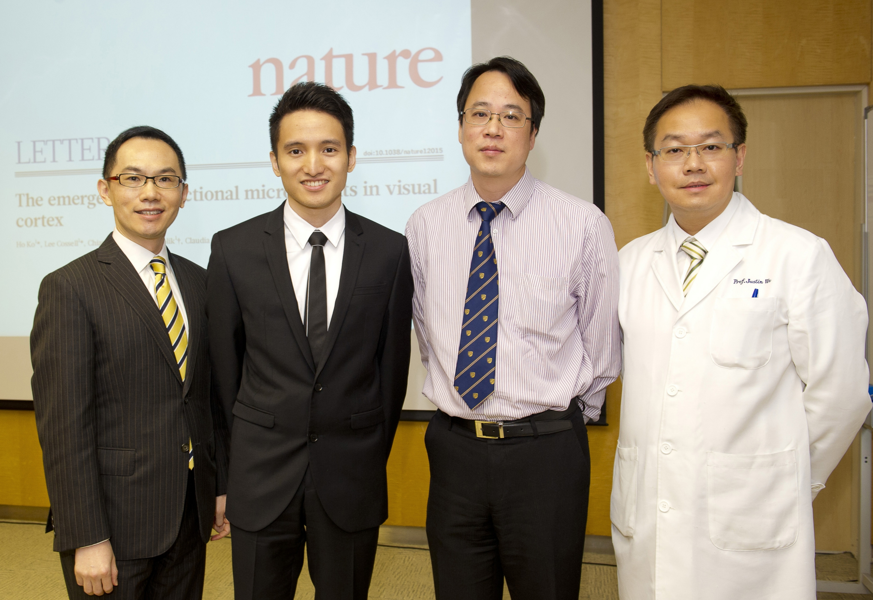 (From left) Prof. Vincent Chun-tong MOK, Assistant Dean (Clinical) and Professor, Division of Neurology, Department of Medicine and Therapeutics; Dr. Owen KO Ho, MBChB Year 3 student; Prof. Wing-ho YUNG, Professor, School of Biomedical Sciences and Prof. Justin Che-yuen WU, Associate Dean (Clinical), Faculty of Medicine at CUHK.