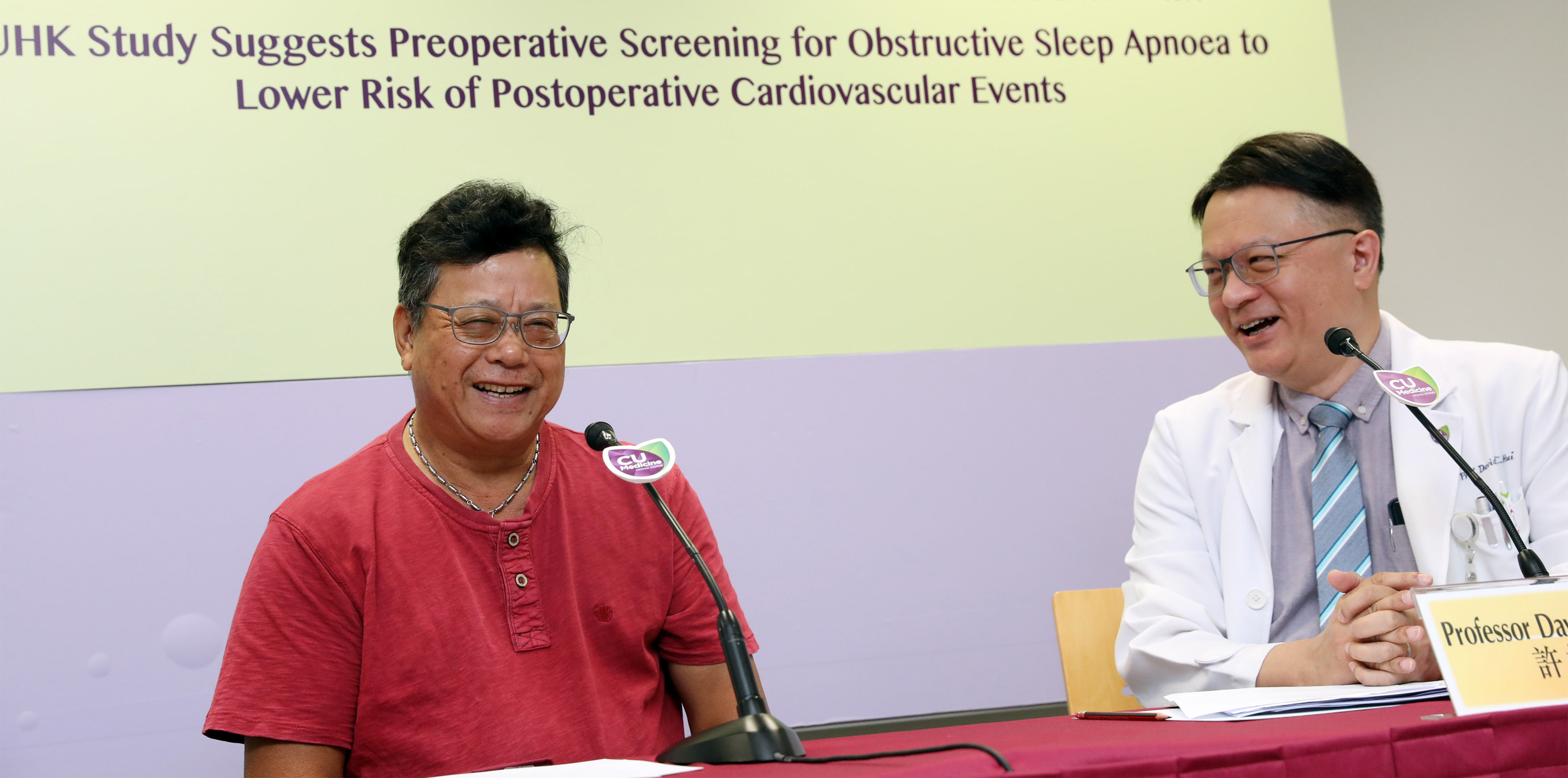 Mr. CHAN (left) received sleep test before his knee surgery last year and was diagnosed with severe OSA. He started OSA treatment and the frequencies of snoring and arousals have dropped drastically.