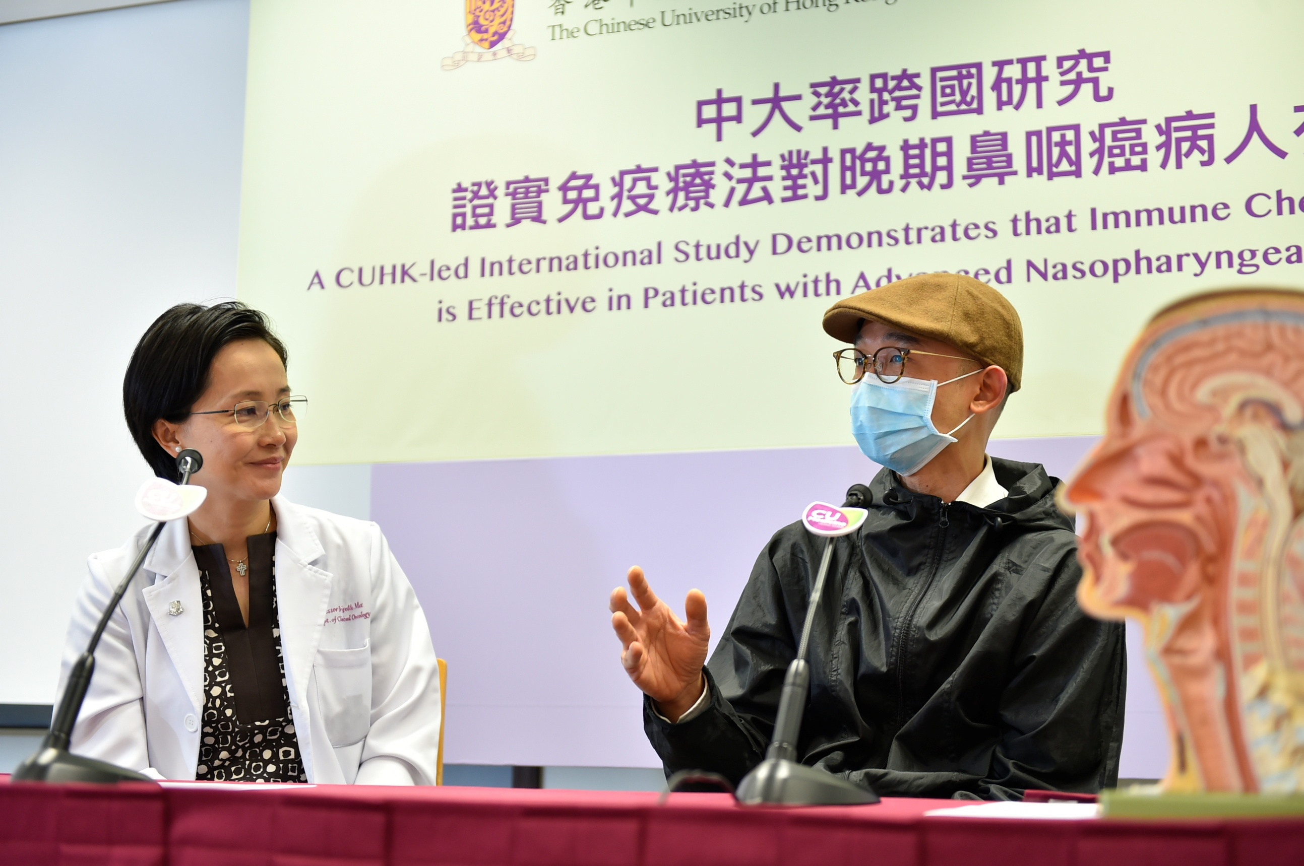 Mr CHAN (pseudo name, right), an NPC patient, states that his physical condition and life quality were not seriously affected during immunotherapy, and there were fewer side effects than chemotherapy.