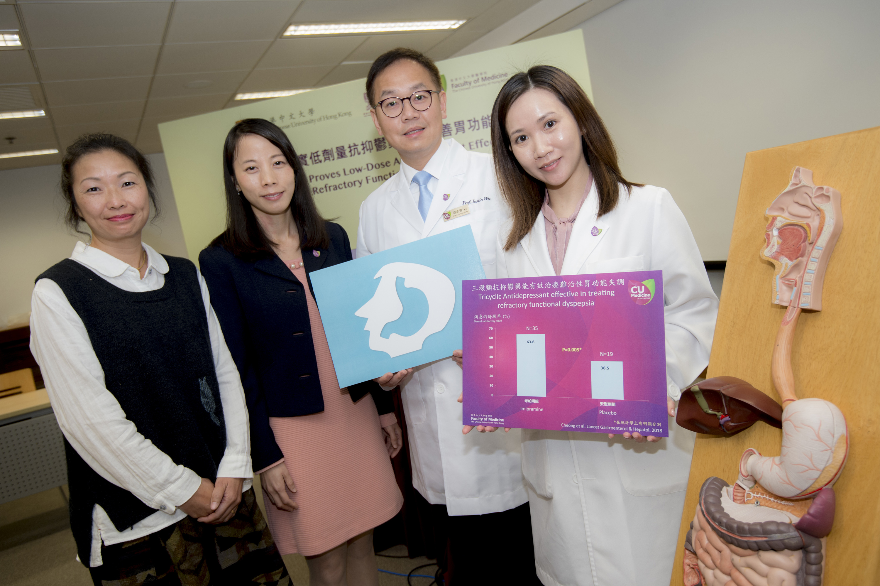 From left: Ms. LEE, functional dyspepsia patient; Ms. Yawen CHAN, Clinical Psychologist, Hong Kong Institute of Integrative Medicine; Professor Justin WU and Research Associate Ms. Pui Kuan CHEONG from the Division of Gastroenterology and Hepatology, Department of Medicine and Therapeutics, CUHK Medicine.